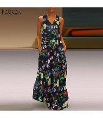 zanzea vestido de playa floral sin mangas con cuello en v para mujer vestidos largos de verano para mujer -negro