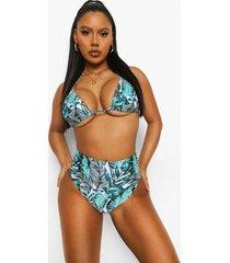 palm print bikini broekje met hoge taille, ivory