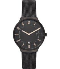 skagen men's grenen black stainless steel mesh watch 38mm