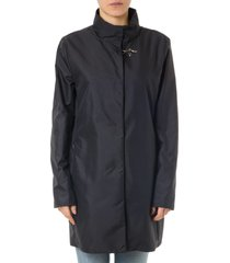 fay covered coat in technical blue fabric