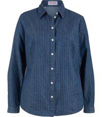 camicia di jeans fantasia a manica lunga (blu) - john baner jeanswear