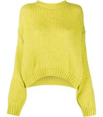 roberto collina drop-shoulder chunky sweater - yellow