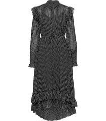lara dot dress knälång klänning svart allsaints