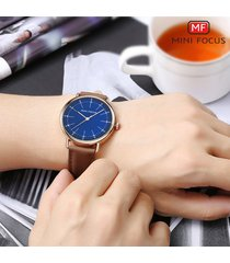 reloj para hombre/correa de piel/ mini focus / 0056g /-azul