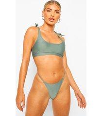 essentials bikini crop top met schouder strikjes, salie