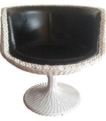 silla  tipo media copa en rattan natural