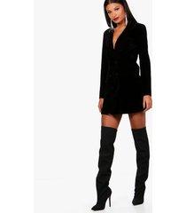 fluwelen tux blazer jurk met dubbele knopen, zwart