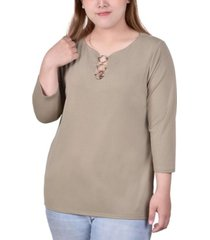 plus size 3/4 sleeve crepe knit top with 3 rings