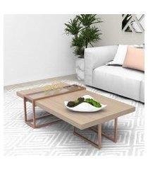 mesa centro tubular bronze madeirado escuro mdf lilies móveis