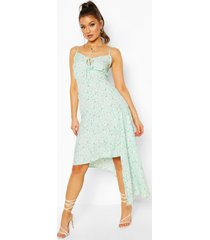 woven floral tie front asymetric midi dress, mint