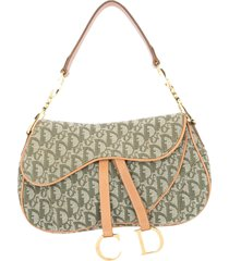 christian dior pre-owned saddle shoulder bag - green, beige
