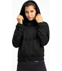 hit feel it knitted trainingssweatjack voor dames, zwart, maat l   puma