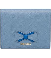 prada bow-detail logo-plaque wallet - blue