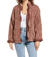 women's free people dolman sleeve quilted jacket, size x-large - red