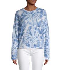 360 cashmere women's blake tie-dye pullover - chalk azure - size xs
