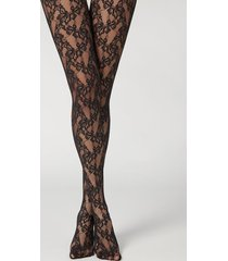 calzedonia floral lace tights woman black size xs