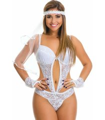 body de noiva estilo sedutor transparente com bojo luvas e véu branco. - kanui