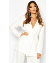 collarless double breasted belted jacket, ivory