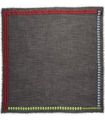 alexander mcqueen skull & stripe wool scarf in black at nordstrom