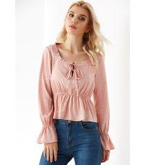 yoins rosa cuadrado cuello blusa de manga larga con volantes