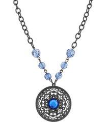 2028 black-tone large pendant necklace