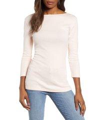 women's caslon three quarter sleeve tee, size xx-small - pink