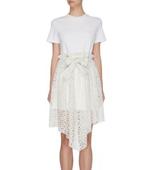 asymmetric sweet alyssum floral embroidered t-dress