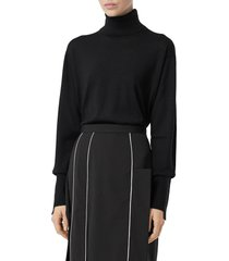 women's burberry nabuna logo cuff merino wool & silk turtleneck sweater, size large - black