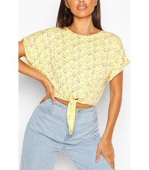 floral print tie front top, yellow