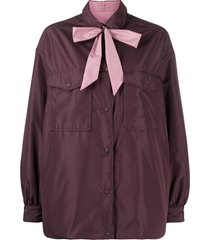 aspesi reversible neck-tie shirt - purple