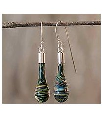 art glass dangle earrings, 'cool vortex' (costa rica)