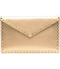 valentino garavani stud-embellished clutch bag - gold