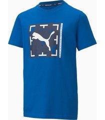 active sports graphic t-shirt, blauw, maat 116 | puma