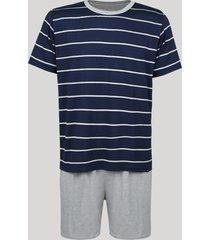 pijama masculino lupo manga curta gola careca azul marinho