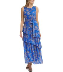 jessica howard floral-print sleeveless tiered tie-waist maxi dress