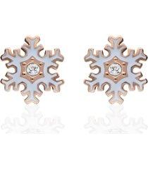 orecchini a lobo lady sweet acciaio rosato fiocco di neve e cristalli per donna