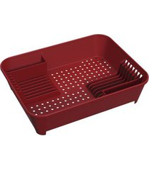 escorredor de pratos coza basic em plástico com porta-talher vermelho