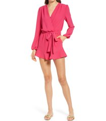 women's fraiche by j flaired tie waist long sleeve romper, size large - pink