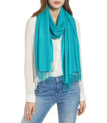women's nordstrom tissue weight wool & cashmere scarf, size one size - blue/green