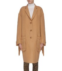 fringe raw cut coat