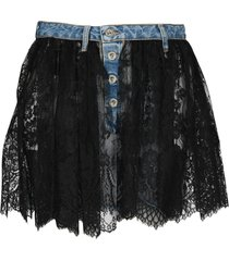 unravel reverse lace denim skirt