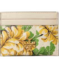 tory burch women's kira chevron quilted floral card case - yellow floral clouds
