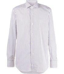 eleventy striped cutaway-collar shirt - white