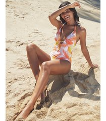 manila palm mindful non-wired halter plunge tummy control one-piece swimsuit
