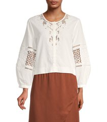 french connection women's esther lace-trim top - summer white - size 6