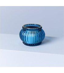 luminária porta-vela laos cor: azul - tamanho: único