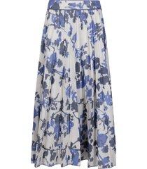 agnona white and blue cotton-blend midi skirt
