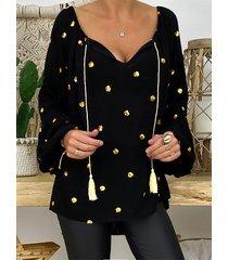 detalles de borlas de lunares blusa de manga larga con cuello en v