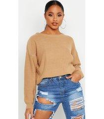 boxy scoop neck sweater, camel