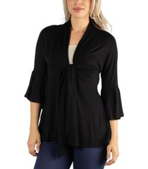 24seven comfort apparel three quarter tie front ruffle cardigan